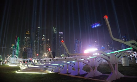 A drone flies around the track at the 2016 World Drone Prix in Dubai, won by British teenager Luke Bannister.