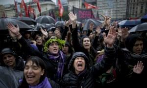 Women demonstrating against gender violence in Buenos Aires.