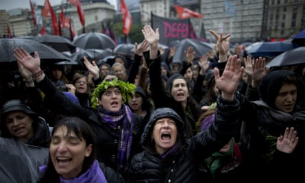 Women demonstrating against gender violence in Buenos Aires.