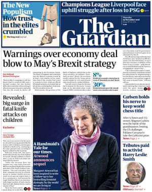 Guardian Home Page, Thursday 29 November 2018