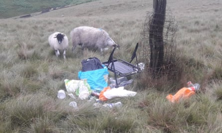 Camping debris left in the Peak District and grazing sheep nearby.