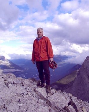 Charles Yonge atop the 2,407m (7,897ft) Ha Ling Peak near Canmore in Alberta, Canada