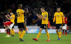 Conor Coady celebrates at the final whistle.