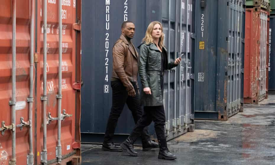 Anthony Mackie and Emily VanCamp as Sam Wilson and Sharon Carter.