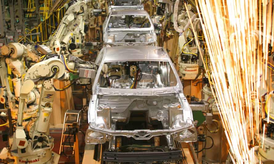 Cars on the assembly line at Ford's plant in Flat Rock, Michigan.