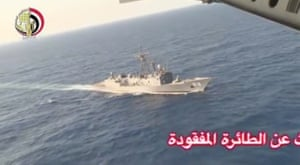 An Egyptian military search boat takes part in a search operation in the Mediterranean.