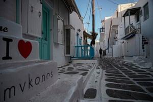 A deserted resort n the Greek island of Mykonos last week.