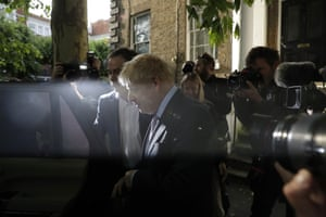 London, England The Tory leadership hopeful Boris Johnson leaves his house in south London