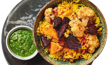 Meera Sodha's vegan recipe for festive pilau with beetroot, cauliflower and coriander chutney