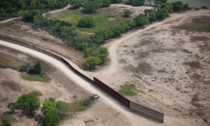 A section of the US-Mexico border fence near McAllen, Texas.