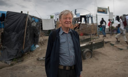 Lord Dubs at a refugee camp in Calais.