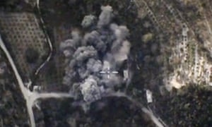 Russian defence ministry footage of airstrikes in Syria against militant positions.