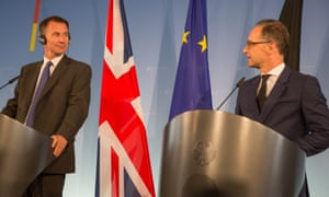 Jeremy Hunt, the UK foreign secretary, meets his German counterpart, Heiko Maas in Berlin