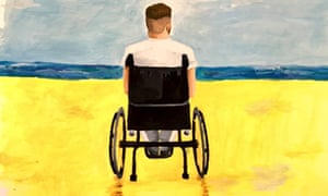 One of Fraser's paintings, depicting himself looking out to sea, which he used on the cover of his book, The Little Big Things.