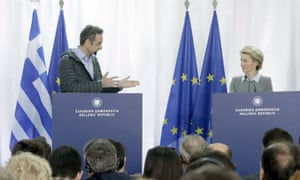 The Greek prime minister, Kyriákos Mitsotákis, and the European commission president, Ursula von der Leyen, give a joint statement at the Greek-Turkish border.
