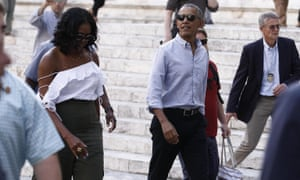 Barack and Michelle Obama in Siena on Monday. Obama and Trump have not met or spoken since the inauguration, and that seems unlikely to change.