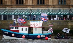 The 'Brexit flotilla' on the Thames, London, June 2016.