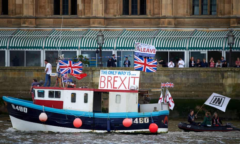 The 'Brexit flotilla' on the Thames, London, June 2016.