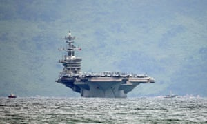 The aircraft carrier USS Theodore Roosevelt arrives at the harbour of Da Nang, Vietnam, 5 March 2020.