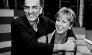 Bibi Andersson with Ingmar Bergman on the set of the Swedish TV show Here is Your Life, in Malmö, Sweden, 1988.