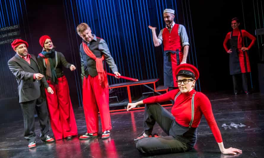 Pippa Evans, front right, with, from left, Adam Meggido, Ruth Bratt, Andrew Pugsley, Justin Brett and Lauren Shearing in Showstopper! The Improvised Musical at the Other Palace in London in 2019.