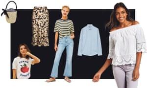 From left: straw basket bag, £17.50, Asos; Pomme D'Amour T-shirt, £65, Etre Cecile; Naomi Flower Power skirt, £137, Realisation Par; Dree cropped jeans, £40, Topshop; Tailored cotton shirt, £55, Cos; Embroidered Bardot top, £22.50, Marks & Spencer