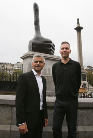 Mayor of London Sadiq Khan and David Shrigley pose in front of Shrigley's new sculpture, Really Good.
