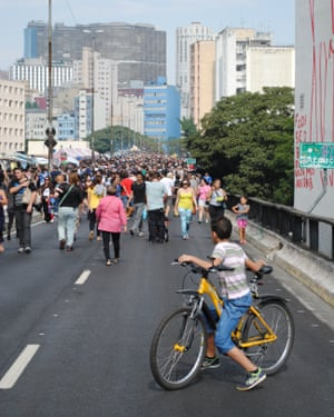 People reclaim the street in a city which is sorely lacking in public space