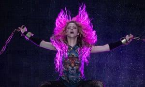 Shakira performing at the O2 Arena.