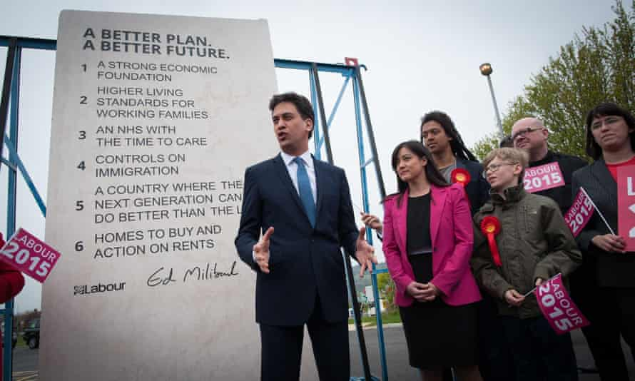 As part of his election campaign, then-Labour leader Ed Miliband unveiled Labour's pledges carved into a stone plinth.