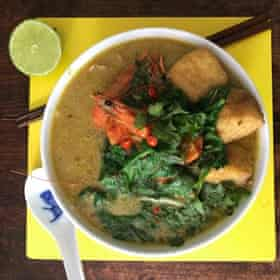 Mandy Yin's laksa: Yin's uses laksa leaves, all of which can be strained out before serving. Laksa leaves are hard to come by unless you have a south-east Asian grocers nearby (ask for hot or Vietnamese mint), so if you can't find them, do as Yin suggests, and use mint and coriander instead.