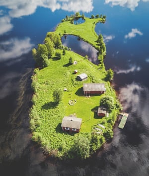 Aerial photographs taken by a drone camera of Kotisaari Island, Lapland  by photographer and artist Jani Ylinampa.
