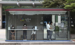 A bus shelter designed to block people with fever in Seoul, South Korea.