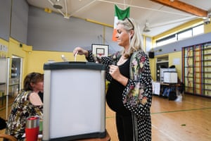 A voter at Scoil Thomáis polling station in Dublin