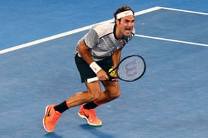 Roger Federer celebrates his victory.