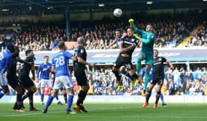 Aston Villa goalkeeper Sam Johnstone punches the ball away during their goalless draw against local rivals Birmingham City at St Andrew's in October 2017.
