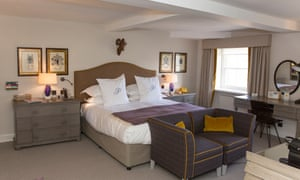 The plush double room, known as the Toadsmoor, at the Painswick Hotel and Restaurant in the Cotswolds village of Painswick, Gloucestershire.