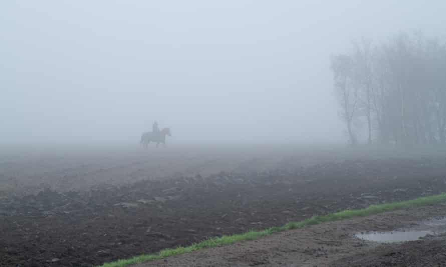 Rider and beast appear out of the mist as one animal and the world walks slow.