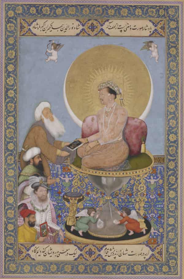 Miniature of Jahangir, with James I in white, below.