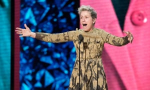 Frances McDormand rallies the female nominees in 2018.