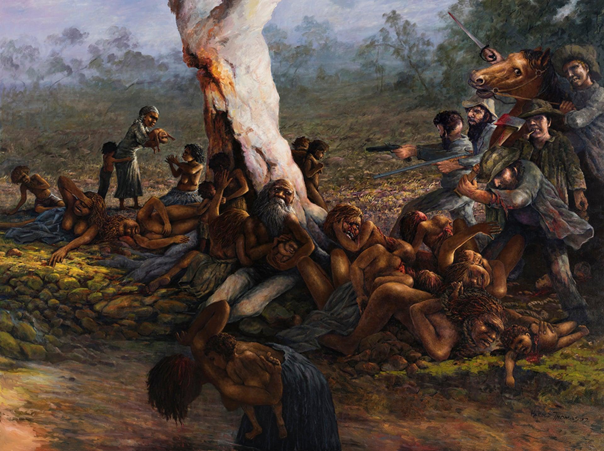 Harold Joseph Thomas' artwork depicts the Myall Creek Massacre