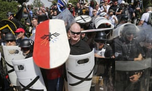 White nationalist demonstrators in Charlottesville, Virginia, on 12 August 2017. White supremacist 'Zeiger' attended the rally with a small group from Quebec.