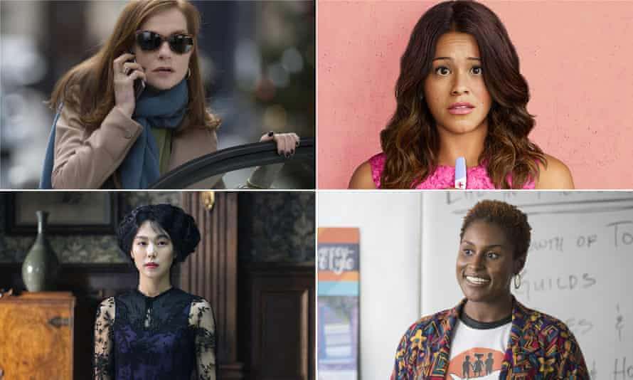 Isabelle Huppert in Elle, Gina Rodriguez in Jane the Virgin, Issa Rae in Insecure and Kim Min-Hee in The Handmaiden.