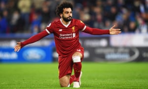 Liverpool's Mohamed Salah celebrates a goal.