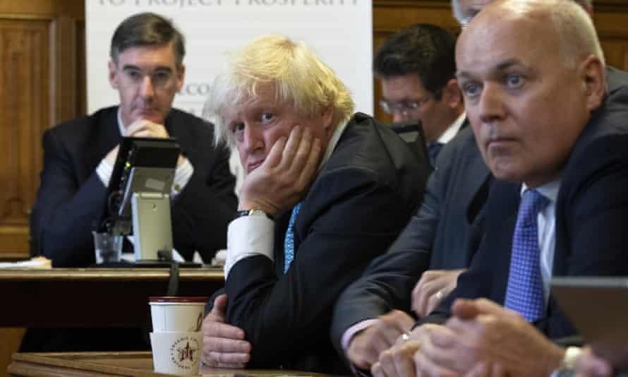 The hard-Brexiter Tory MPs Jacob Rees-Mogg, Boris Johnson and Iain Duncan Smith.