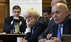 Jacob Rees Mogg (left), Boris Johnson, (centre) and Iain Duncan Smith (right) at the Economists for Free Trade launch.