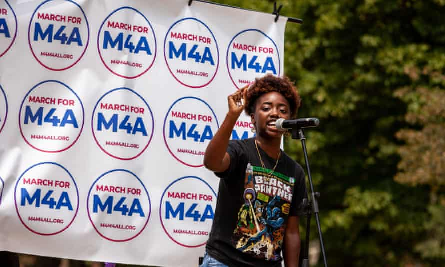 A Medicare for All rally in Washington in July. The examination insurers faced last year after reporting such high profits has largely faded away.