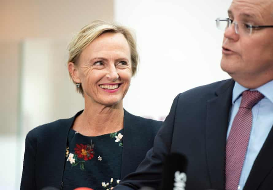 Liberal candidate for Higgins Katie Allen with Scott Morrison.