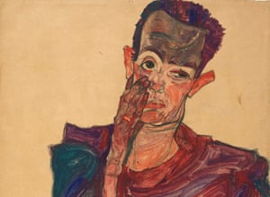Egon Schiele's Self-portrait with Eyelid Pulled Down, 1910 (detail).