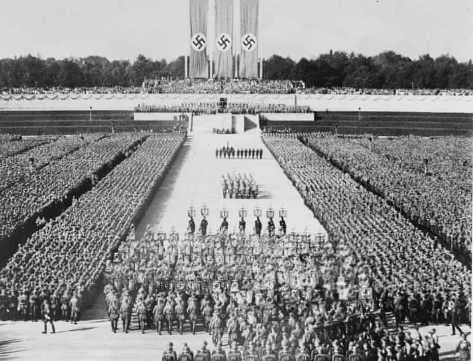 An image from Leni Riefenstahl's film The Triumph of the Will, made at the 1934 Nuremberg rallies